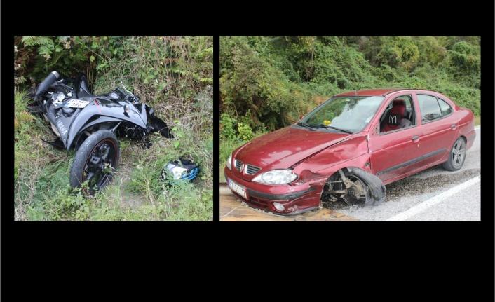 Motosiklet ile otomobil çarpıştı: 1 yaralı