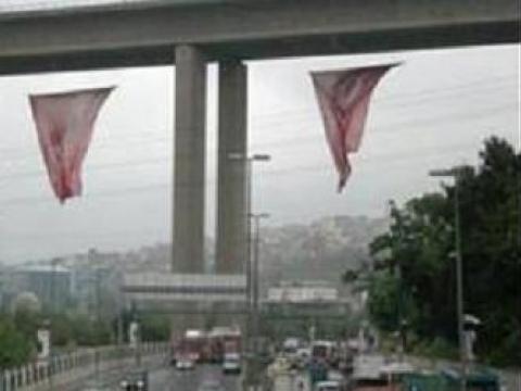 Sadabad Viyadüğü'de bayrak krizi