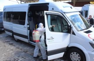 İnebolu'da toplu taşıma araçları dezenfekte...