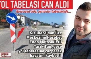 MOTOSİKLETİ İLE TRAFİK TABELASINA ÇARPAN TARIK...